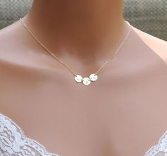 Stamped Initial Necklace Mothers Necklace by CharmingMetals, $37.00