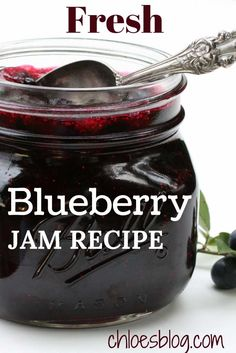 This award-winning blueberry jam recipe is a guest favorite at Big Mill Bed… Pesto, Homemade Jelly, Homemade Blueberry Jelly Recipe, Get Thin, Jelly Recipes, Fruit Recipes, Drink Recipes, Jam And Jelly, Blueberry Recipes