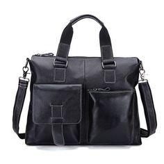 "DIOULAORENTOU Black Genuine Leather Document Briefcase Vintage Men Business Bags Mens Handbags Leather Bag for Laptop Fit 14"""
