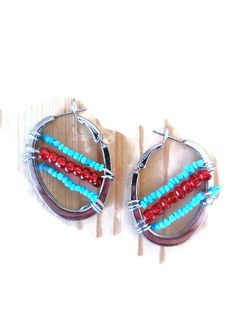 Check out this item in my Etsy shop https://www.etsy.com/listing/237736247/tribal-silver-hoops-beaded-hoop