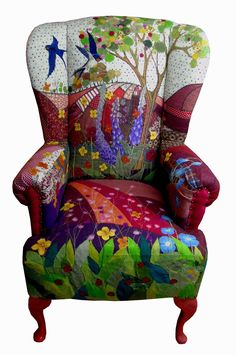 Oh what a gorgeous wing back chair, the fabric is so adorable.
