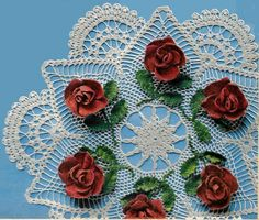 Lace Doily Ring of Red Roses in Crochet