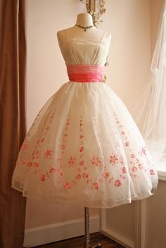 Vintage 1950s Prom Dress // 50s Pink and White Chiffon Embroidered Cupcake Dress and Ombre Pink Sash