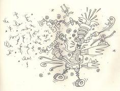Mo-ci-mett'-'na-pezz (il cicatrizzato e parzialmente mummificato Signore dell'Ottimismo Oltranzista) respinge fieramente il subdolo attacco di uno sciame di peli pubici imbizzarriti
