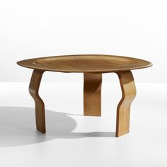 Charles and Ray Eames; Unique Molded Ash Plywood Coffee Table, Constructed of existing furniture parts for a visit to the Eames' studio by the chairman of IBM. Coffee Table Desk, Unique Coffee Table, Charles & Ray Eames, Plywood, Modern Design, Ibm, Auction, Furniture, 1960s