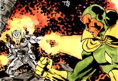 Vision Upper Deck Marvel Premier Sketch Card by toze-barnabe