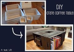 DIY coffee table made from simple craft store crates.   I. Am. Doing. This.