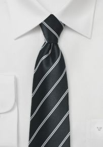 Classic Double Pin Striped Necktie in Onyx