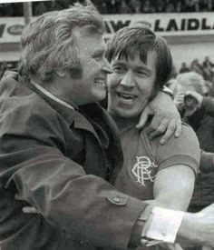 Wallace and Greig celebrating ending scumtics ten in a row attempt at easter road in the season and winning our first league title for eleven years. Rangers Football, Football Icon, Rangers Fc, Football Soccer, John Greig, Football Pictures, Arsenal Fc, Glasgow, Memoirs