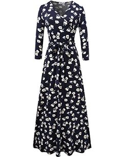 Aphratti Womens 34 Sleeve Vintage Wrap Long Maxi Dress with Belt Navy Medium ** More info could be found at the image url. (This is an affiliate link) Maxi Wrap Dress, Maxi Dress With Sleeves, Floral Maxi Dress, Short Sleeve Dresses, Shirt Dress, Long Sleeve, Fall Dresses, Pretty Dresses, Long Dresses