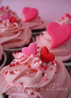 Valentine's Day Cupcakes. Save time by purchasing store made cupcakes; remove frosting; add your own frosting/candies.