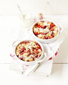 Rezept: Erdbeer-Rhabarber-Crumble