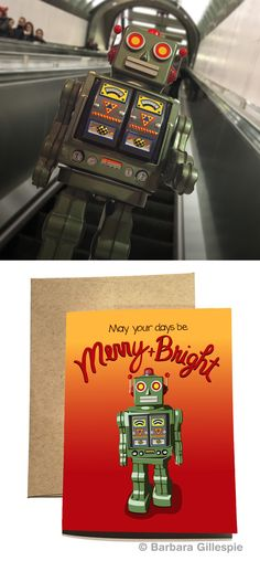 Warning... Warning... the holidays are approaching! Brighten things up with this Retro Robot Holiday Card. Available at flopsockdesigns on Etsy / Blank inside / Comes with a matching kraft paper envelope / Pin for later
