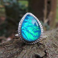 Silver Fire Opal Ring Blue Fire Opal Ring Blue Flash Ring