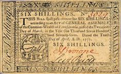 six shillings 1777