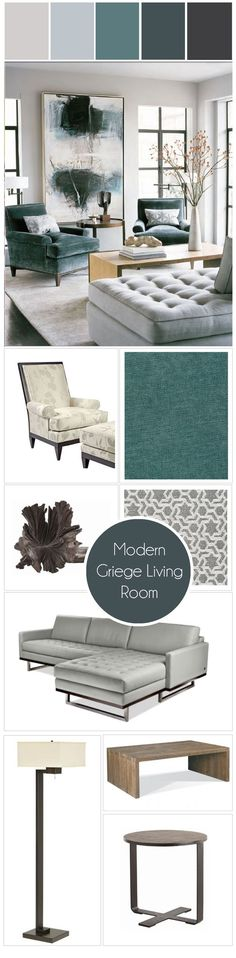Canada's Got Colour Winner | Griege + Teal  Modern Living Room. I think this is the color combo I'm going with to go with my turquoise chairs.   Luxurious interior design ideas perfect for your projects. #interiors #design #homedecor Know more here:  http://www.covethouse.eu/