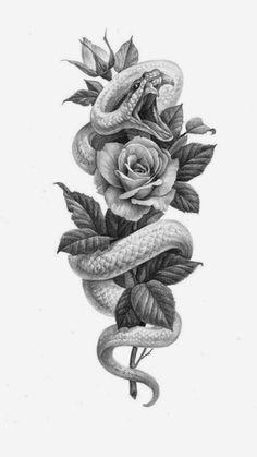 Snake And Flowers Tattoo, Flower Tattoo Drawings, Tattoo Design Drawings, Flower Tattoo Designs, Cute Tattoos, Leg Tattoos, Body Art Tattoos, Small Tattoos, Sleeve Tattoos