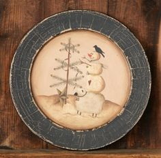 Country and Primitive snowman decor at Lake Erie Gifts & Decor. Primitive Plates, Primitive Sheep, Primitive Crafts, Pottery Painting, Painted Pottery, Painted Plates, Wooden Plates, Tole Painting, Christmas Jesus