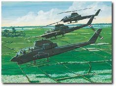 AVIATION ART HANGAR - Snakes on Patrol by K. Price Randel (AH-1 Cobra)   #VietnamWarMemories