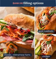 This Banh Mi recipe covers the truly authentic meats as well as how to make an exceptional Banh Mi just by going to your everyday grocery store! Asian Recipes, New Recipes, Cooking Recipes, Ethnic Recipes, Chinese Recipes, Filipino Recipes, Chicken Loaf, Banh Mi Recipe, Vietnamese Sandwich