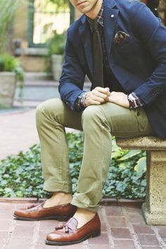 slim fit cargo pants w/loafers and blazer