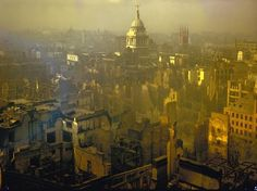 London at War - The Blitz 1940    1940 London after heavy German air raid bombing attacks during the Battle of Britain.