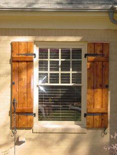 Wooden shutters exterior wood home depot cape town rustic Exterior Shutter Colors, Window Shutters Exterior, Outdoor Shutters, Cedar Shutters, Rustic Shutters, Diy Shutters, Exterior House Colors, Farmhouse Shutters, Outside Window Shutters