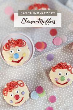 Fasching Rezept - Clown Muffins backen: Die Kinder Muffins sind nicht nur als Karneval Rezept beliebt; Sie eignen sich auch als Geburtstag Muffins oder für als Kindergarten Buffet Idee.