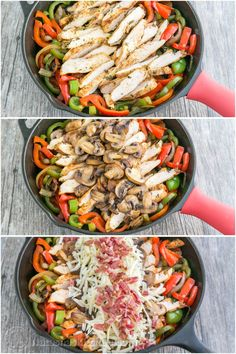 Chicken and Mushroom Fajitas - A Copycat Recipe for Chilis Restaurant Fajitas. So GOOD!! @natashaskitchen