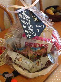 Night Before the Wedding gift from Bridesmaid to Bride Chick Flick DVDs Face Mask Moisturiser Small cans of alcohol Popcorn Sweets Chocolate Thank you card Bridesmaid Thank You Cards, Bridesmaid Duties, Wedding Gifts For Bridesmaids, Bridesmaid Ideas, Wedding Dresses, Bridesmaid Gift Baskets, Wedding Gift Baskets, Night Before Wedding, Wedding Night