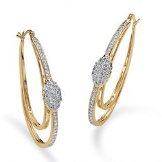 1.25 TCW Round Cubic Zirconia Double Oval Hoop Earrings in 14k Gold-Plated at Viomart.com