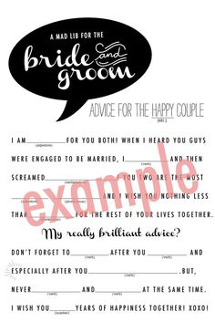 Bride and Groom Wedding Mad Lib via Etsy