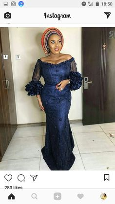 Aso ebi lace gown styles beautiful Aso ebi Long gown Lace for wedding Nigerian Lace Styles, Aso Ebi Lace Styles, African Lace Styles, Lace Dress Styles, African Lace Dresses, African Fashion Dresses, Ankara Styles, Ankara Fashion, Ankara Tops