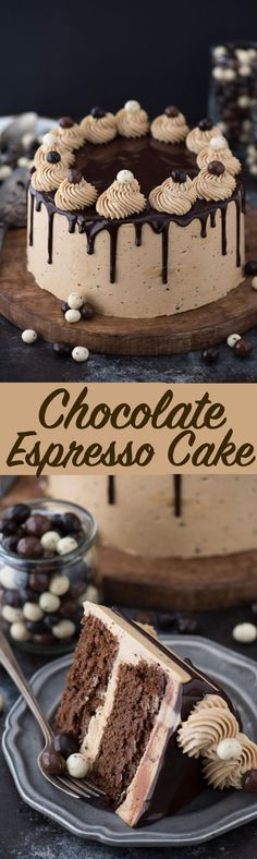 Chocolate Espresso cake -Everyone loves the pairing of chocolate & coffee! Best Cake Recipes, Cupcake Recipes, Sweet Recipes, Baking Recipes, Cupcake Cakes, Dessert Recipes, Cupcakes, Easy Recipes, Chocolate Desserts