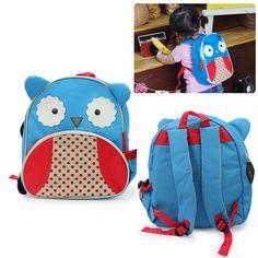 Kids Baby Unisex Cute Animal Owl Cartoon Backpack Shoulder Book School Bag