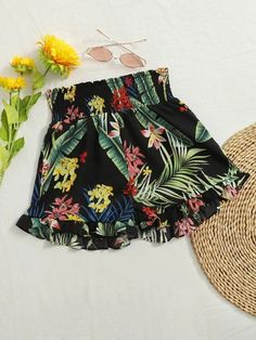 ((Affiliate Link)) Description Style:	Boho Color:	Black Pattern Type:	Floral, Tropical Details:	Frill, Ruffle Hem, Shirred Type:	Wide Leg Season:	Summer Composition:	95% Polyester, 5% Spandex Material:	Polyester Fabric:	Non-stretch Sheer:	No Fit Type:	Regular Waist Type:	High Waist Closure Type:	Elastic Waist