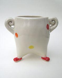 Red Clown Handmade Ceramic Pottery Sugar Jar by madhatterceramics, $38.00