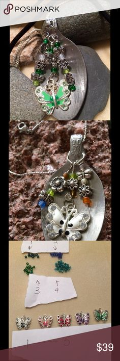 Special Order  Spoon Butterfly Necklace Vintage spoon that I put beads and silver butterflies and silver flowers.  you pick the color of the butterfly and bead color. The pictures are past orders to give you an idea.   special order . You can pick from a silver chain, suede and leather cord... LalasjewelryDesigns Jewelry Necklaces
