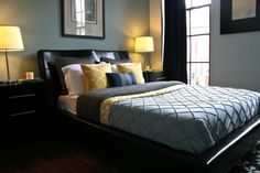 teal walls, brown, yellow accents (spare bedroom)