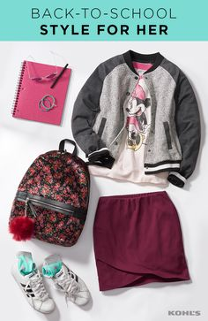 Sure...school is not a fashion show, but that's no reason she can't look cute. We love this outfit for middle or high school. Pair a vintage Minnie Mouse tee with a pull-on tulip skirt and a varsity jacket. Finish the look with white sneakers, flamingo socks and a floral backpack. (Bonus style points for the furry pom pom!) Go back to school with Kohl's.