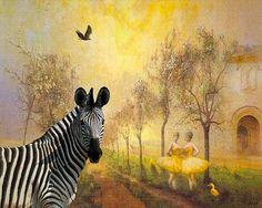 zebra art print yellow art print original collage giclee by Eahkee, $22.00