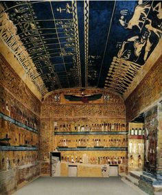 Tomb of Seti I (reigned,1290-1279 BC),KV 17,at the Valley of the Kings,decorated with religious text.Text from Litany of Ra,Book of the Dead,Imydwat,Book of Gates,Opening of the Mouth ritual,and Book of Heavenly Cow.Other scenes adorning the tomb are Astronomical Scenes,and pictures of the Pharaoh on walls.When the tomb was first discovered by Belzoni,in 1817.... Source Ancient Egypt