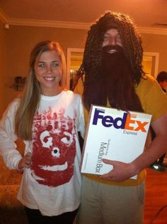 Halloween Costumes for Pregnant Couples, Tom Hanks Costume Easy Couples Costumes, Easy Couple Halloween Costumes, Pregnancy Costumes, Funny Couple Halloween Costumes, Diy Costumes, Costume Ideas, Halloween Couples, Family Costumes, Movie Costumes