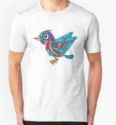 Mechanical Bird by enriquev242 T-shirt #Bird #mechanical #robot #blue #machine #animal #wings  #cartoon #gear #fly #nature #vector #cute #steampunk #redbubble #tshirt