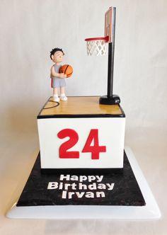 basketball cake   sports cake   fondant floor   wood   custom toppers   basketball hoop   basketball player