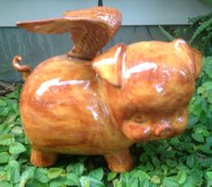 Piggy bank flying pig ceramic bank when pigs fly by muddyme, $32.00 He's just fat and cute...plus he's got wings!
