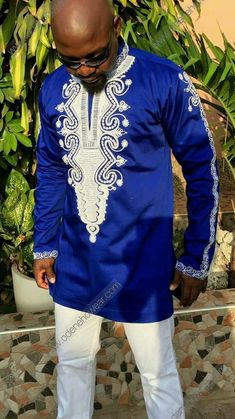 Details about Odeneho Wear Men's Blue Polished Cotton Top/White Embroidery. African Clothing For Men, African Shirts, African Print Fashion, Ethnic Fashion, African Attire, African Wear, African Dress, Kaftan, Blue And White Shirt