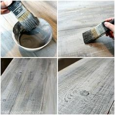 How to make new wood look like old barn board. Holy cow this is so amazing and looks so easy! How to make new wood look like old barn board. Holy cow this is so amazing and looks so easy! Diy Projects To Try, Home Projects, Painted Furniture, Diy Furniture, Furniture Makeover, How To Distress Furniture, Gray Wash Furniture, Furniture Design, Furniture Dolly