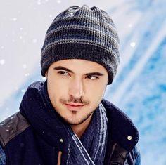 Winter striped beanie hats for men wool blend knit hats