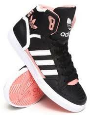 coral white and black Adidas hightops